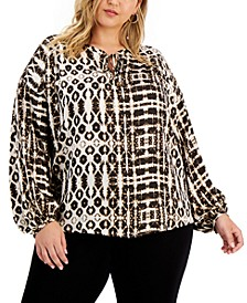 Plus Size Tie-Dye Charm Peasant Top, Created for Macy's