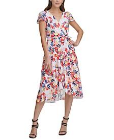 Floral-Print Faux-Wrap Midi Dress