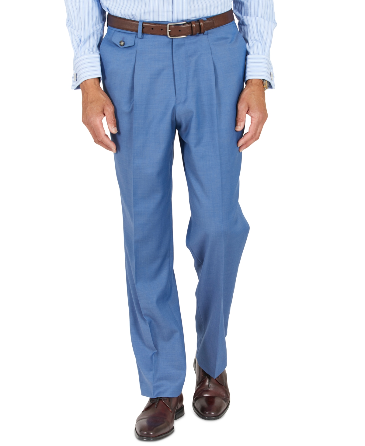 1950s Men's Pants, Trousers, Shorts | Rockabilly Jeans, Greaser Styles Tayion Collection Mens Blue Solid Classic-Fit Wool Suit Separate Pants $175.00 AT vintagedancer.com