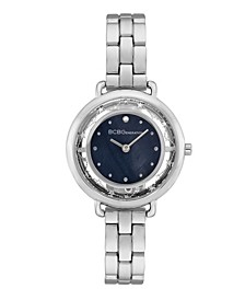Women's 2 Hands Slim Silver-Tone Stainless Steel Band Watch 34mm