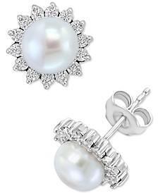 EFFY® Cultured Freshwater Pearl (7mm) & Diamond (1/10 ct. t.w.) Stud Earrings in Sterling Silver