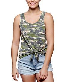 Juniors' Camo-Print Tie-Front Tank Top