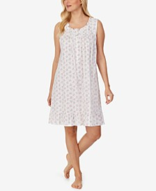 Floral-Print Ruffled Jersey Nightgown