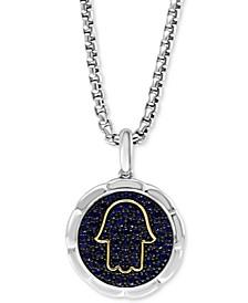 "EFFY® Men's Sapphire Hamsa Hand Disc 22"" Pendant Necklace (1-1/3 ct. t.w.) in Sterling Silver & 14k Gold"