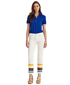 Striped Mid-Rise Jeans