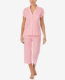 Striped Knit Capri Pants Pajama Set