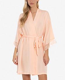 Lace-Trim Hammered Satin Wrap Robe