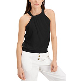 INC Petite Gathered Neckline Halter Top, Created for Macy's