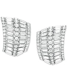 Rhodium-Plated Hyperbola Curved Earrings