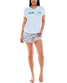 Printed T-Shirt & Boxer Shorts Sleep Set