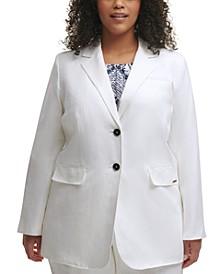 Trendy Plus Size Notched-Lapel Blazer