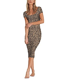 Women's Mid Day Animal-Print Midi Dress