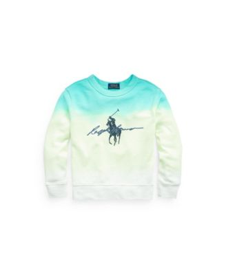폴로 랄프로렌 Polo Ralph Lauren Little Boys Dip-Dyed Spa Terry Graphic Sweatshirt,White Dip Dye Multi