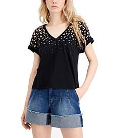 INC Cheetah Foil-Print T-Shirt, Created for Macy's