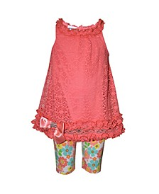 Little Girls 2 Piece Lace Top and Floral-Print Jegging
