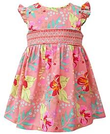 Toddler Girls Flutter Sleeved Tropical Print Cotton Lawn Dress