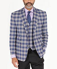 Men's Classic-Fit Blue & Pink Plaid Jacket & Vest