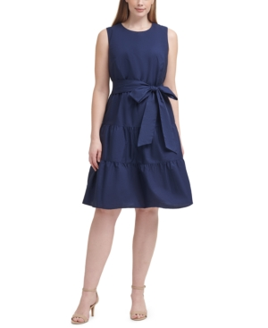 Plus Size Cotton Tiered A-Line Dress