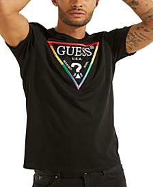 Men's Embroidered Pride Rainbow Logo T-Shirt