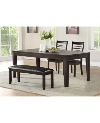 Ally Dining 4-Pc Set ( Table, 2 Side Chairs & Bench)