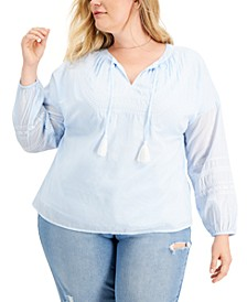Plus Size Embroidered Tassel Tunic Top, Created for Macy's