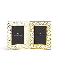 Double Heart Frame Gold 5x7