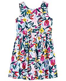 Little Girls Floral Linen Dress