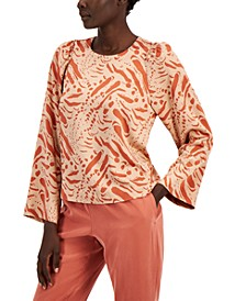 Printed Wide Ruffled-Sleeve Blouse, Created for Macy's