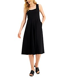 Petite Square-Neck Midi Dress, Created for Macy's