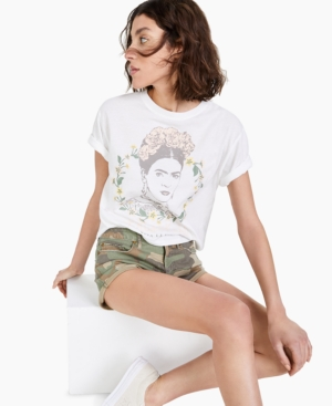 Juniors' Frida Kahlo Cropped T-Shirt