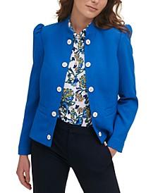 Puff-Shoulder Stand-Collar Jacket