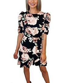 Rose Print Ruched Sleeve Dress