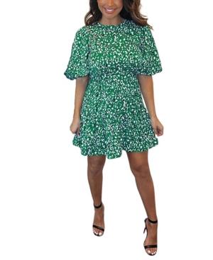 Abstract Print Puff Sleeve Dress