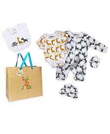 Baby Boys and Girls Safari Layette Gift Set in Mesh Bag, 5 Piece