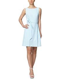 Seersucker Sleeveless Fit & Flare Dress