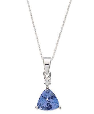 14k White Gold Tanzanite (1-1/4 ct. t.w.) and Diamond Accent Pendant Necklace