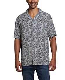 Men's Short Sleeves Rayon Print Camp Collar Shirt