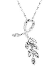 "Diamond Vine-Inspired 18"" Pendant Necklace (1/6 ct. t.w.) in 10K White Gold"