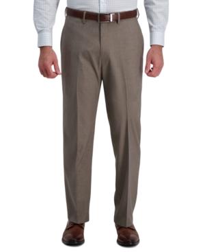 Men's Textured Grid 4-Way Stretch Classic Fit Flat Front Hidden Expandable Waistband Dress Pant