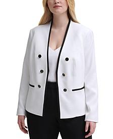 Plus Size Contrast-Trim Blazer