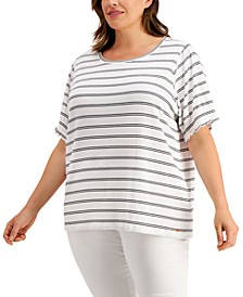 Plus Size Textured Striped Top