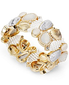 Gold-Tone Decorated Shell Stretch Bracelet, Created for Macy's