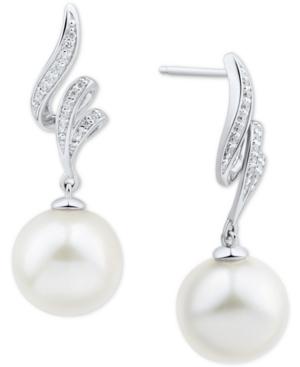 White Ming Pearl (11mm) & Diamond (1/20 ct. t.w.) Swirl Drop Earrings in 14k White Gold