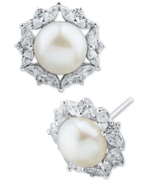 Cultured Freshwater Pearl (8mm) & Cubic Zirconia Stud Earrings in Sterling Silver