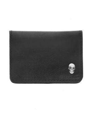 Men's Horizontal Fold Card Holder with Silver Skull