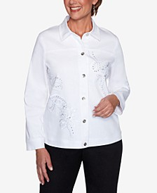 Plus Size Anchor's Away Rope Embroidered Jacket