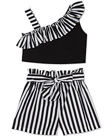 Baby Girls 2-Pc. One-Shoulder Top & Stripe Shorts Set
