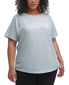 Plus Size Outline Logo Ruched Side Top