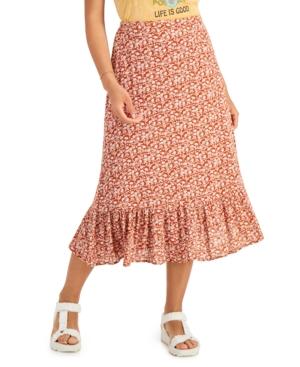 Printed Ruffled-Hem Skirt