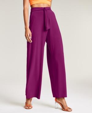 Solid Tie-Front Wide-Leg Pants